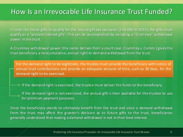How Is an Irrevocable Life Insurance Trust Funded?6Protecting Life Insurance Proceeds: An Irrevocable Life Insurance Trust...