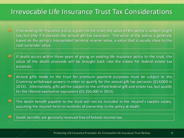 Irrevocable Life Insurance Trust Tax Considerations8Protecting Life Insurance Proceeds: An Irrevocable Life Insurance Trus...