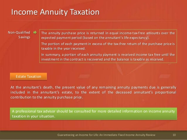 Income Annuity Taxation10Guaranteeing an Income for Life: An Immediate Fixed Income Annuity ReviewEstate TaxationAt the an...