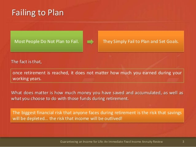 Failing to Plan3Guaranteeing an Income for Life: An Immediate Fixed Income Annuity ReviewThey Simply Fail to Plan and Set ...