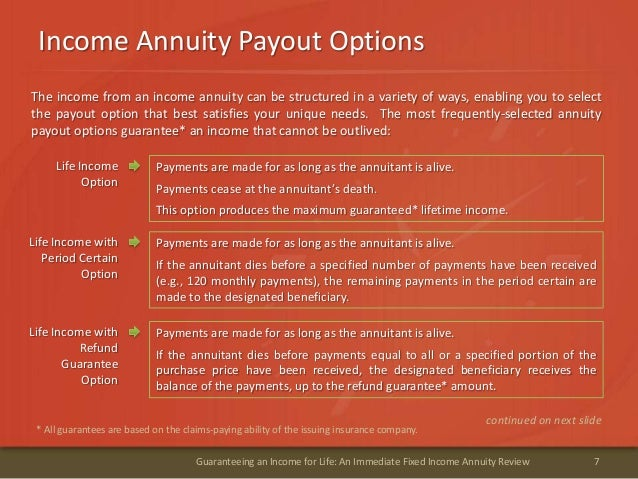 Income Annuity Payout Options7Guaranteeing an Income for Life: An Immediate Fixed Income Annuity ReviewLife IncomeOptionPa...