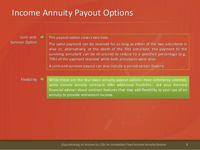 Income Annuity Payout Options8Guaranteeing an Income for Life: An Immediate Fixed Income Annuity ReviewJoint-and-Survivor ...