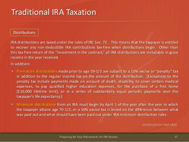 Traditional IRA Taxation17Preparing for Your Retirement: An IRA ReviewIRA distributions are taxed under the rules of IRC S...