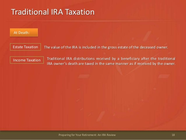 Traditional IRA Taxation18Preparing for Your Retirement: An IRA ReviewAt Death:The value of the IRA is included in the gro...