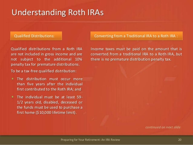 Understanding Roth IRAs20Preparing for Your Retirement: An IRA ReviewQualified Distributions:Qualified distributions from ...