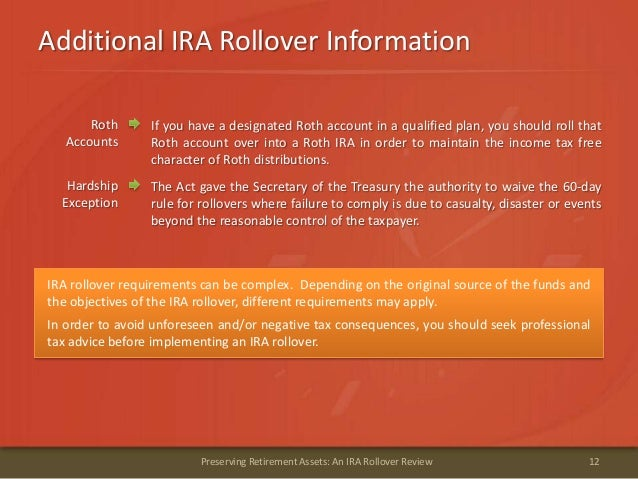 Additional IRA Rollover Information12Preserving Retirement Assets: An IRA Rollover ReviewIRA rollover requirements can be ...