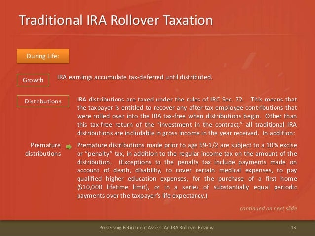 Traditional IRA Rollover Taxation13Preserving Retirement Assets: An IRA Rollover ReviewDuring Life:Distributions IRA distr...