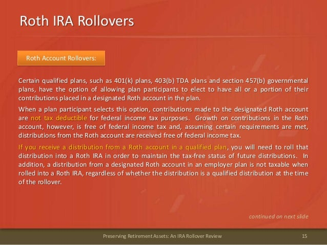 Roth IRA Rollovers15Preserving Retirement Assets: An IRA Rollover ReviewRoth Account Rollovers:Certain qualified plans, su...