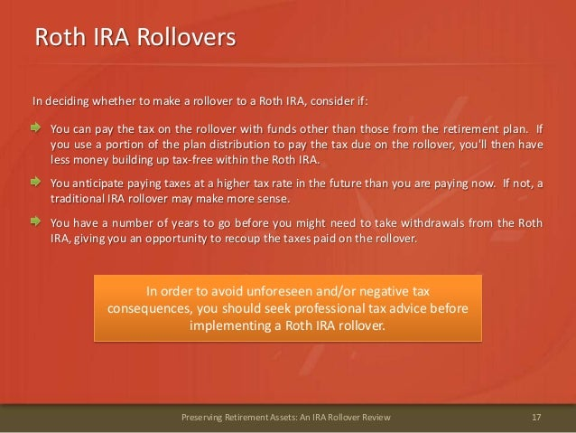 Roth IRA Rollovers17Preserving Retirement Assets: An IRA Rollover ReviewIn deciding whether to make a rollover to a Roth I...