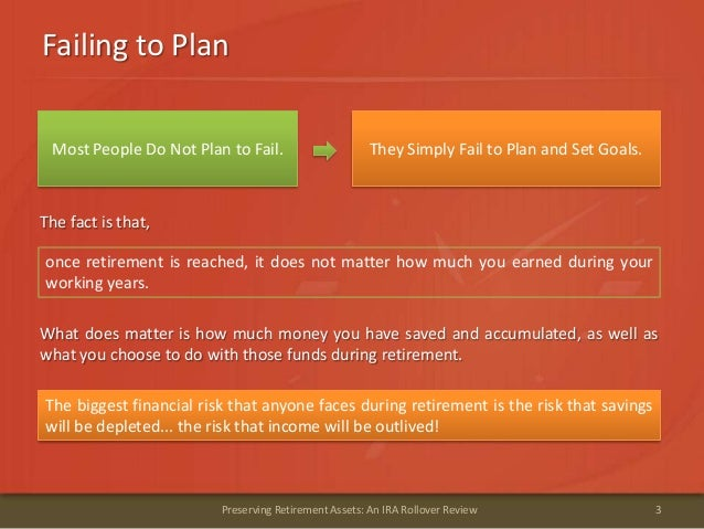 Failing to Plan3Preserving Retirement Assets: An IRA Rollover ReviewThey Simply Fail to Plan and Set Goals.The fact is tha...