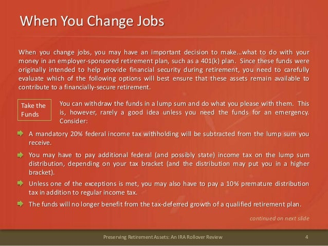 When You Change Jobs4Preserving Retirement Assets: An IRA Rollover ReviewWhen you change jobs, you may have an important d...
