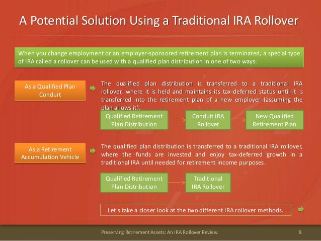 A Potential Solution Using a Traditional IRA Rollover8Preserving Retirement Assets: An IRA Rollover ReviewWhen you change ...