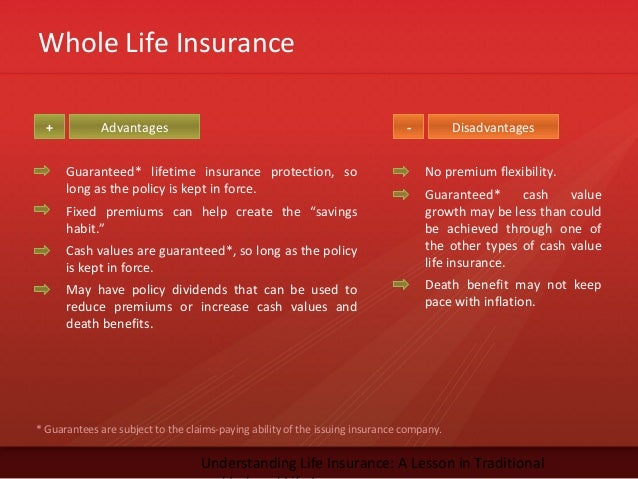 Whole Life InsuranceUnderstanding Life Insurance: A Lesson in TraditionalAdvantages Disadvantages+ -Guaranteed* lifetime i...