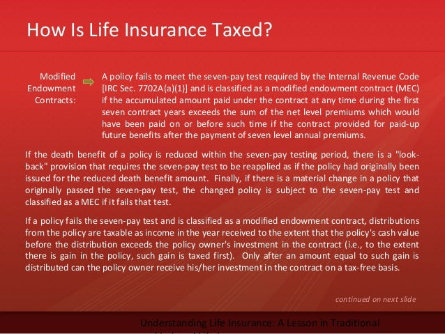 How Is Life Insurance Taxed?Understanding Life Insurance: A Lesson in TraditionalModifiedEndowmentContracts:A policy fails...