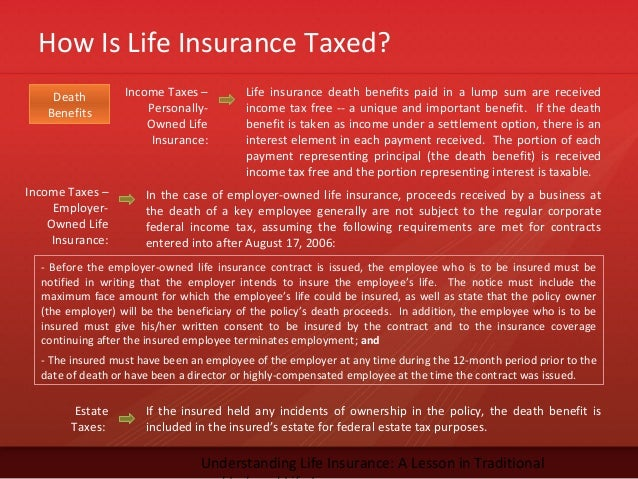 How Is Life Insurance Taxed?Understanding Life Insurance: A Lesson in TraditionalIncome Taxes –Personally-Owned LifeInsura...