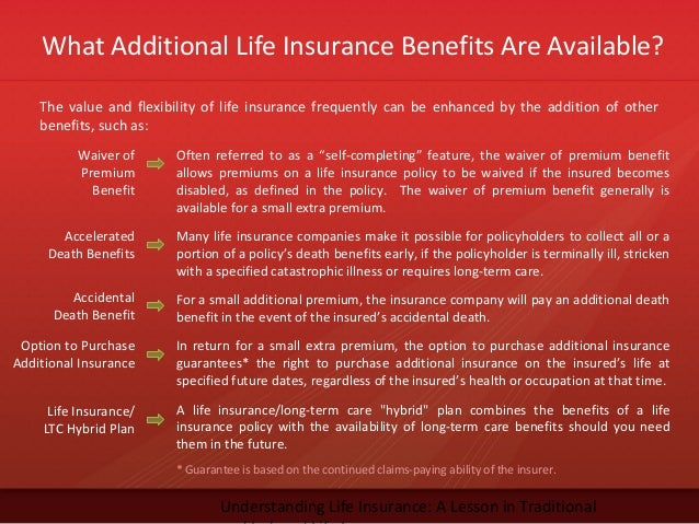 What Additional Life Insurance Benefits Are Available?Understanding Life Insurance: A Lesson in TraditionalWaiver ofPremiu...