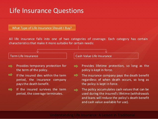 Life Insurance QuestionsUnderstanding Life Insurance: A Lesson in TraditionalAll life insurance falls into one of two cate...