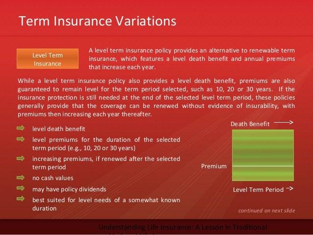 Term Insurance VariationsUnderstanding Life Insurance: A Lesson in TraditionalLevel TermInsuranceA level term insurance po...
