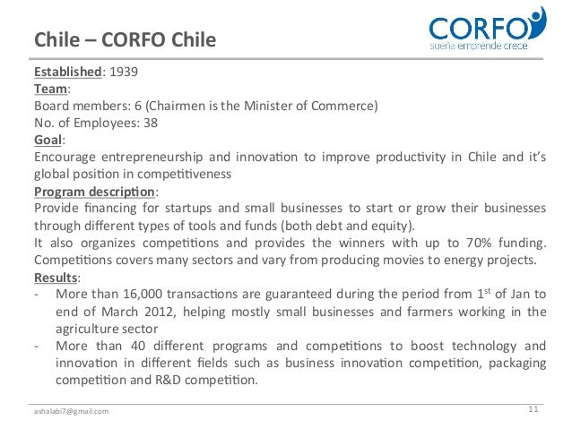 Chile – CORFO Chile Established: 1939 Team: Board members: 6 (Chairmen is the Minister of Co...
