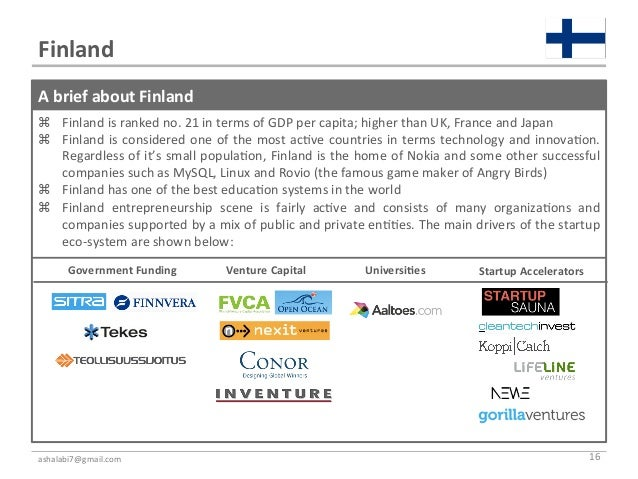 Finland A brief about Finland  Finland is ranked no. 21 in terms of GDP per capita; high...