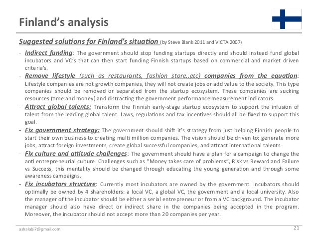 Finland's analysis Suggested solu%ons for Finland's situa%on (by Steve Blank 2011 and VICTA 2007...