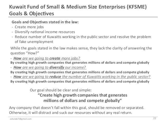 Kuwait Fund of Small & Medium Size Enterprises (KFSME) Goals & Objec7ves    Goals and Objec7...