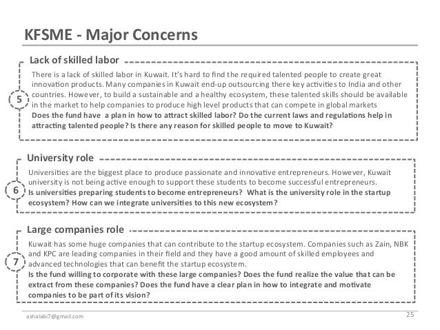 KFSME -‐ Major Concerns        Lack of skilled labor                   There is a lack of skill...