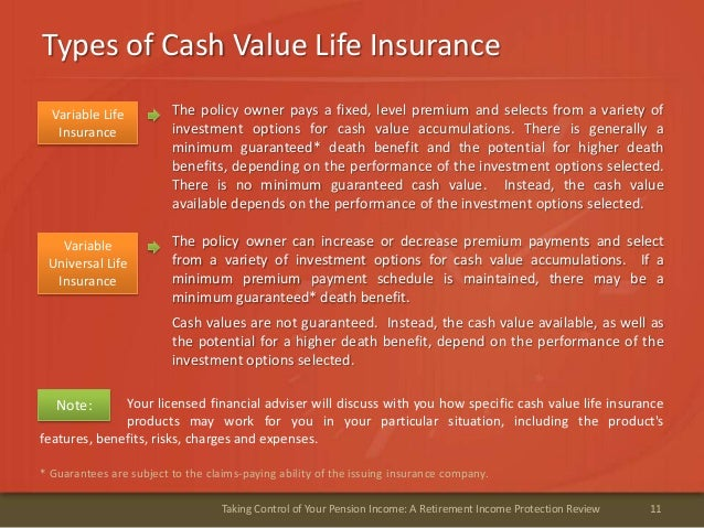 11Taking Control of Your Pension Income: A Retirement Income Protection ReviewTypes of Cash Value Life Insurance* Guarante...