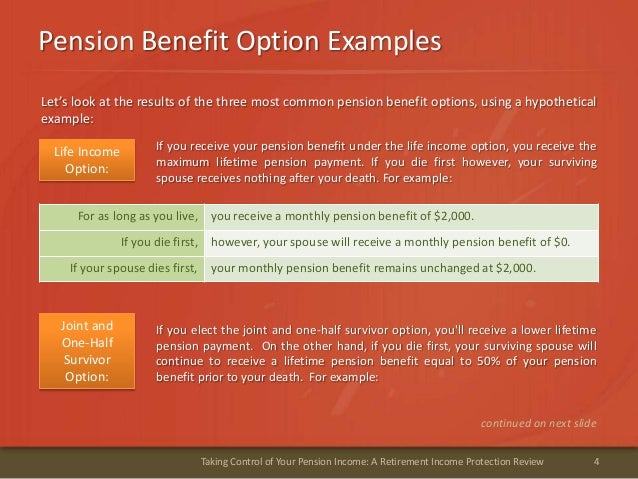 Pension Benefit Option Examples4Taking Control of Your Pension Income: A Retirement Income Protection ReviewLet's look at ...