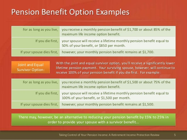 Pension Benefit Option Examples5Taking Control of Your Pension Income: A Retirement Income Protection ReviewFor as long as...