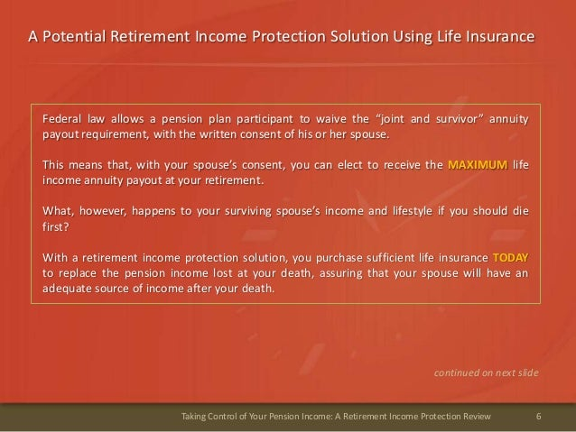A Potential Retirement Income Protection Solution Using Life Insurance6Taking Control of Your Pension Income: A Retirement...