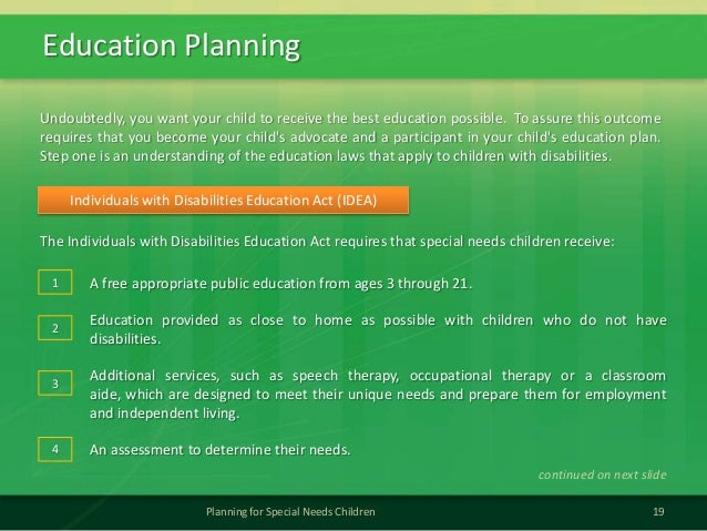 Education Planning19Planning for Special Needs ChildrenThe Individuals with Disabilities Education Act requires that speci...