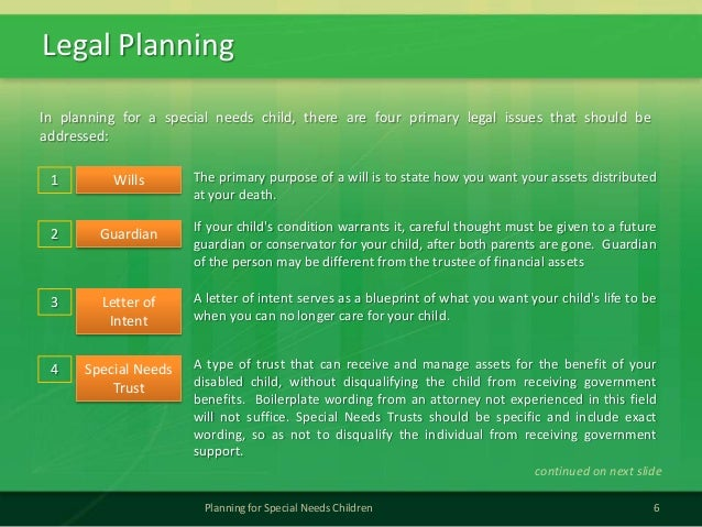 Legal Planning6Planning for Special Needs ChildrenIn planning for a special needs child, there are four primary legal issu...
