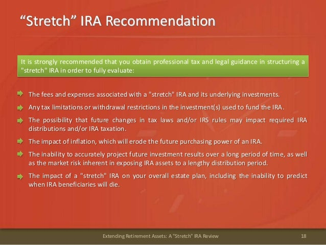 """""""Stretch"""" IRA Recommendation18Extending Retirement Assets: A """"Stretch"""" IRA ReviewIt is strongly recommended that you obtai..."""