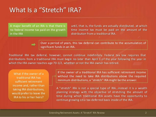 """What Is a """"Stretch"""" IRA?2Extending Retirement Assets: A """"Stretch"""" IRA Reviewuntil, that is, the funds are actually distrib..."""