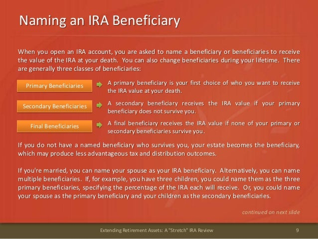 """Naming an IRA Beneficiary9Extending Retirement Assets: A """"Stretch"""" IRA ReviewWhen you open an IRA account, you are asked t..."""