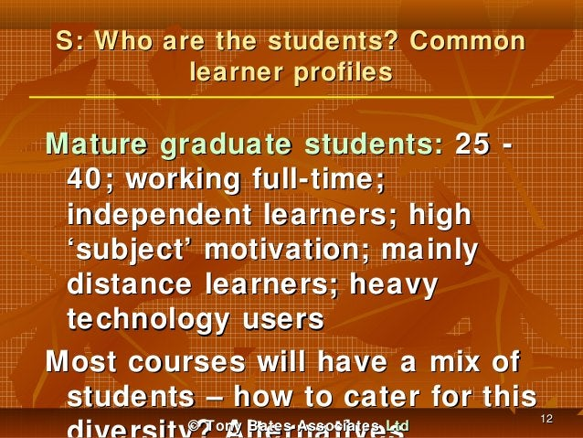 S: Who are the students? Common learner profiles  Mature graduate students: 25 40; working full-time; independent learners...