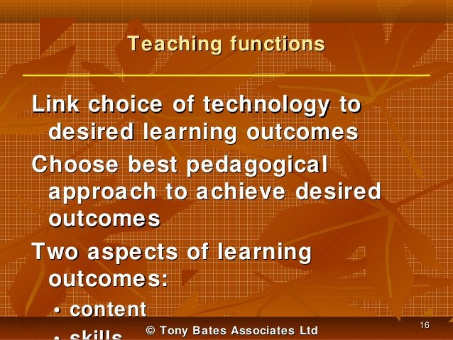 Teaching functions  Link choice of technology to desired learning outcomes Choose best pedagogical approach to achieve des...
