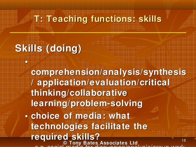 T: Teaching functions: skills  Skills (doing) • comprehension/analysis/synthesis / application/evaluation/critical thinkin...