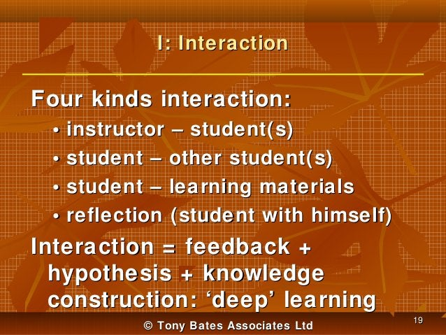 I: Interaction  Four kinds interaction: • • • •  instructor – student(s) student – other student(s) student – learning mat...