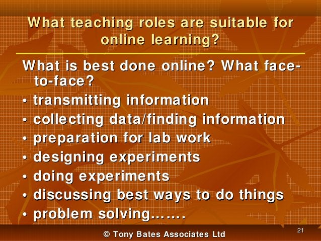 What teaching roles are suitable for online learning? What is best done online? What faceto-face? • transmitting informati...