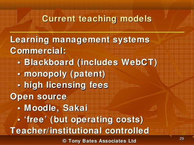 Current teaching models Learning management systems Commercial: • Blackboard (includes WebCT) • monopoly (patent) • high l...