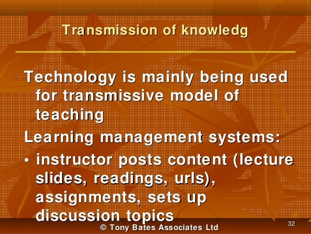 Transmission of knowledg  Technology is mainly being used for transmissive model of teaching Learning management systems: ...