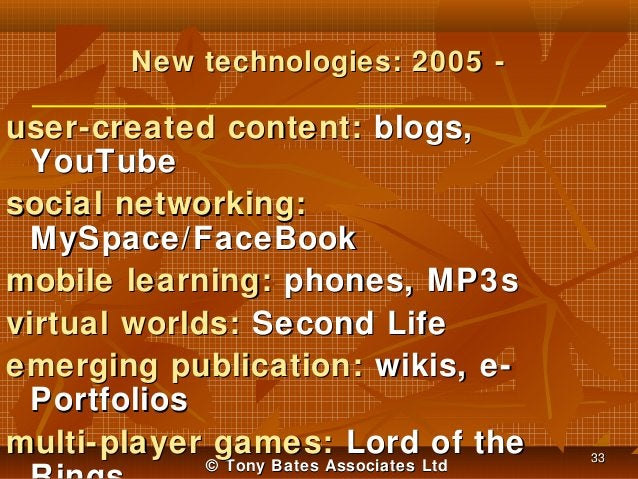 New technologies: 2005 -  user-created content: blogs, YouTube social networking: MySpace/FaceBook mobile learning: phones...