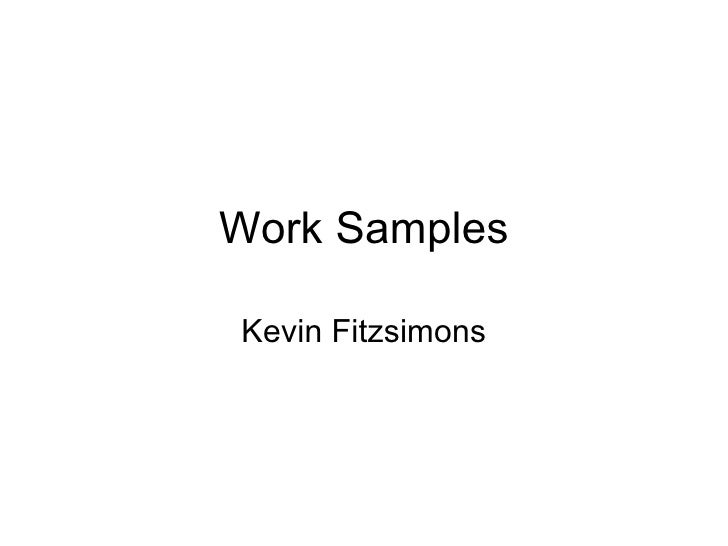 Work Samples Kevin Fitzsimons
