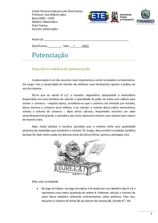 Escola Técnica Estadual Lucilo Ávila Pessoa. Professor: José Alberto Sales. Bolsa PIBID – UFPE. Matéria: Matemática. Ficha...