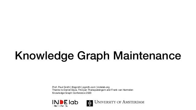 Knowledge Graph Maintenance Prof. Paul Groth | @pgroth | pgroth.com | indelab.org  Thanks to Daniel Daza, Thiviyan Thanapa...