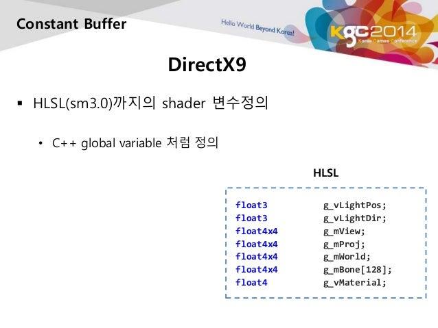 DirectX9  Constant Buffer   HLSL(sm3.0)까지의 shader 변수정의  • C++ global variable 처럼 정의  HLSL  float3 g_vLightPos;  float3 g_...