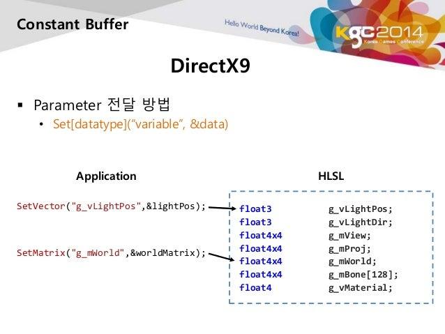 "DirectX9  Constant Buffer   Parameter 전달 방법  • Set[datatype](""variable"", &data)  float3 g_vLightPos;  float3 g_vLightDir;..."