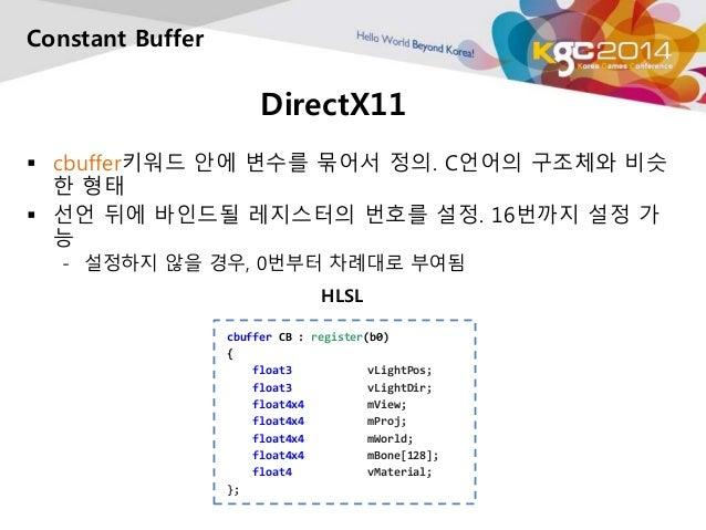 DirectX11  Constant Buffer   cbuffer키워드 안에 변수를 묶어서 정의. C언어의 구조체와 비슷  한 형태   선언 뒤에 바인드될 레지스터의 번호를 설정. 16번까지 설정 가  능  - 설정...